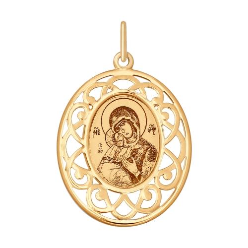 Iconita din aur cu infatisarea Maicii Domnului de Vladimir