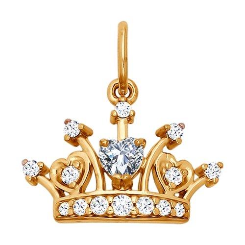 Pandantiv ' Coroana' din argint aurit cu fianite