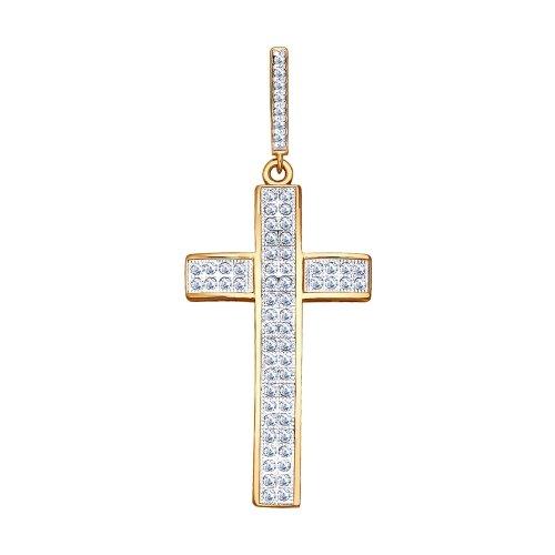 Cruce din argint aurit cu fianite