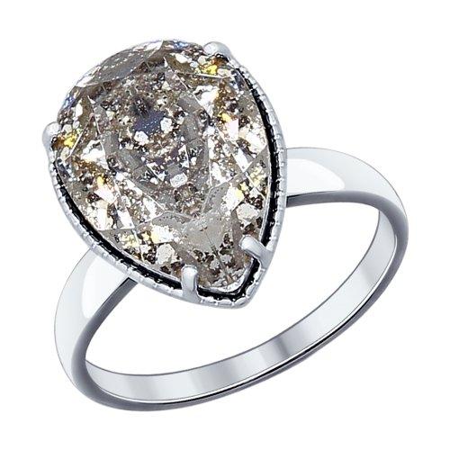 Inel din argint cu cristal negru Swarovski