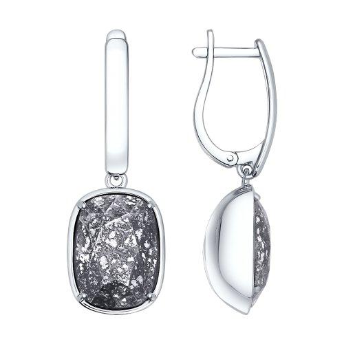 Cercei din argint cu cristale negre Swarovski