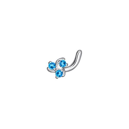 Piercing pentru nas cu fianite bleu 'Trifoi'