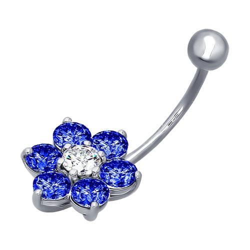 Piercing pentru buric din argint cu fianite bleu