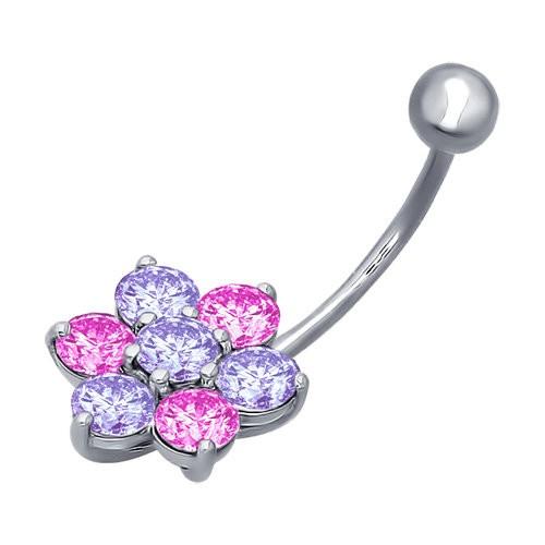 Piercing pentru buric din argint cu fianite mov si roz